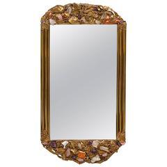 Custom-Made Brass Mirror Encrusted with Semi-Precious Stones, Brazil
