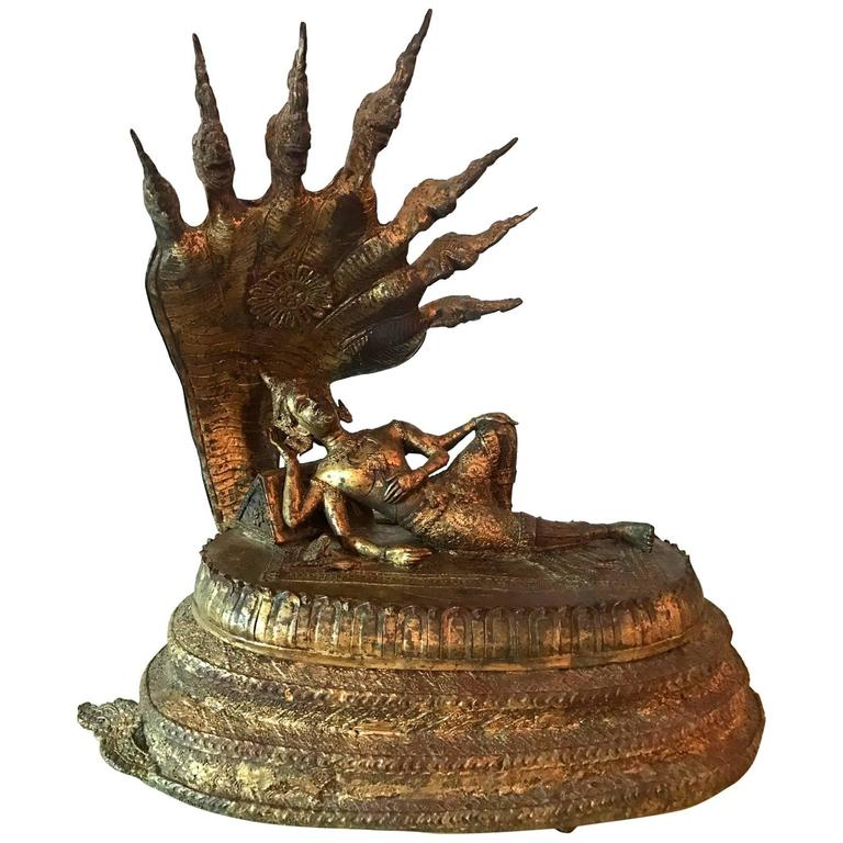 Rare Antique Buddha under Naga Sculpture from Thailand