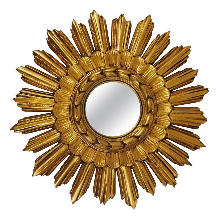 French Gilt Convex Sunburst Starburst Wall Mirror from the 1950s