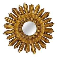 French Gilt Convex Sunburst Starburst Wall Mirror from the 1950s