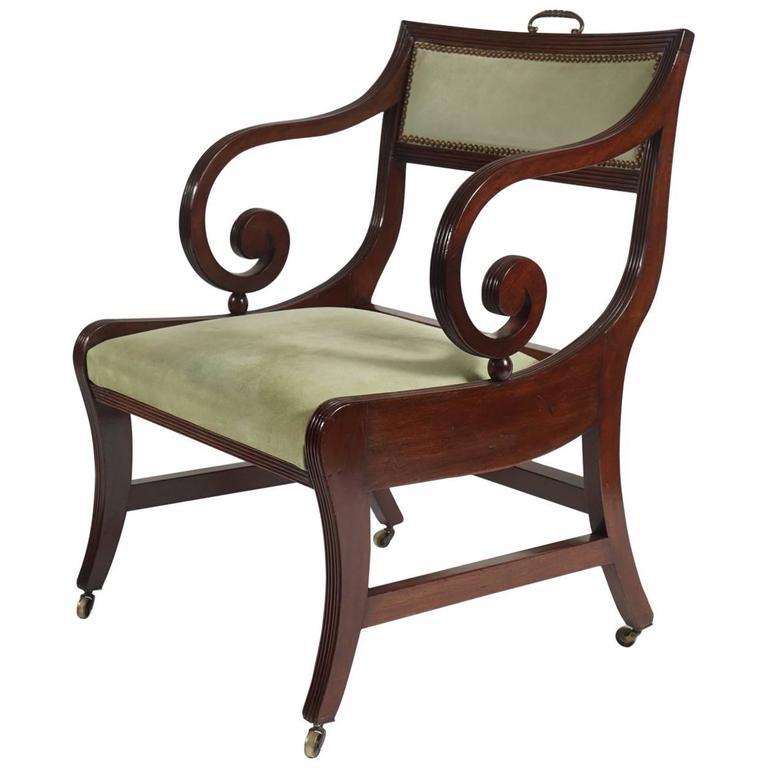Merveilleux English Regency Klismos Form Armchair Or Library Chair, Circa 1815