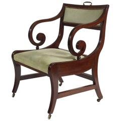 Large English Regency Klismos Form Library Armchair, circa 1815