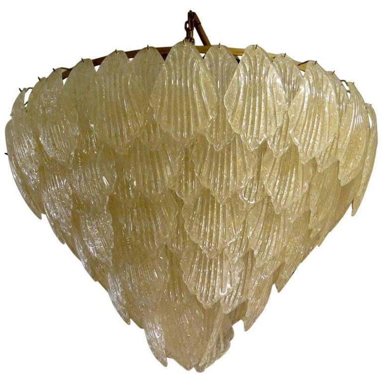 1940 Murano Glass Gold Color Art Deco Italian Chandeliers For Sale