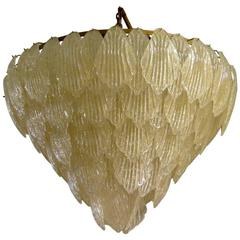 1940 Murano Glass Gold Color Art Deco Italian Chandeliers