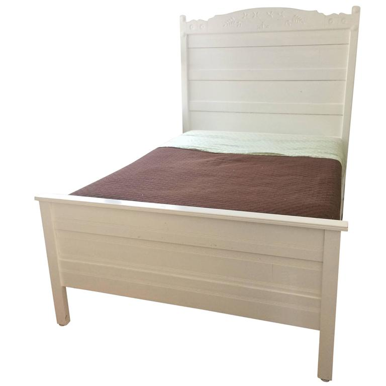Lovely country house painted carved wood full bed frame at