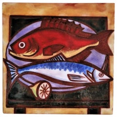 Signed Fishes Nature Morte Ceramic Wall Decorative Tile, France, 1960s