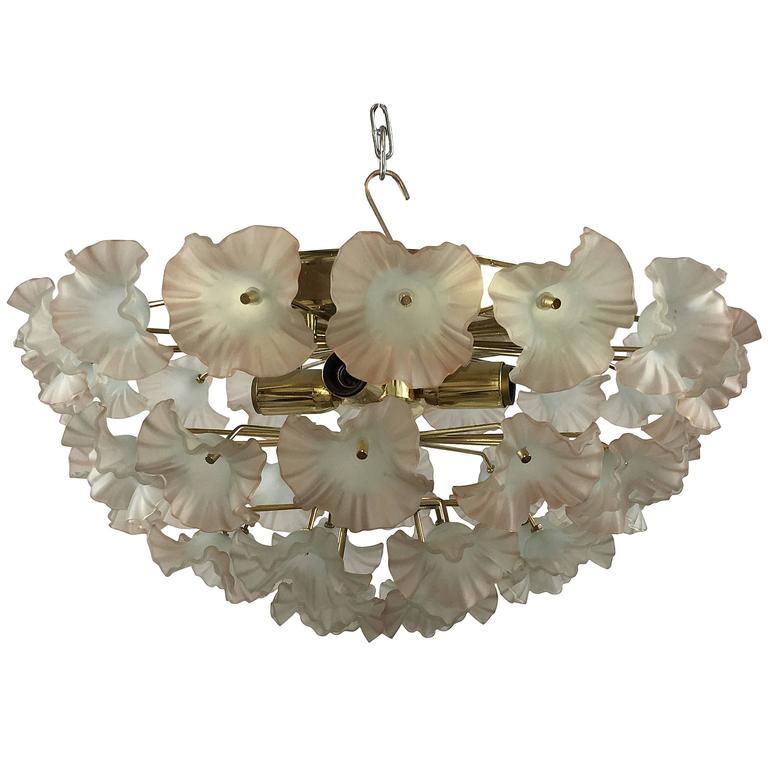 Italy 1960s Murano Glass Flower Flush Mount Chandelier