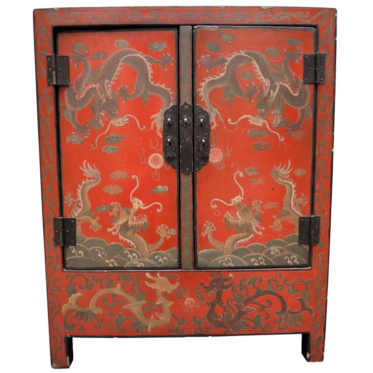 Antique Chinese Red Lacquer Side Table Cabinet With Incised Dragon Decoration For