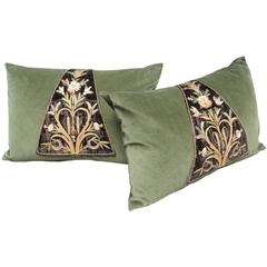 Pillows Made from French 17th Century Silk Embroidered Textiles