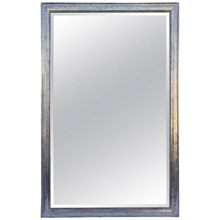 Large Rectangular French Louis Philippe St. Silver Leaf Mirror For Sale