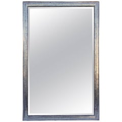 Large Rectangular French Louis Philippe St. Silver Leaf Mirror