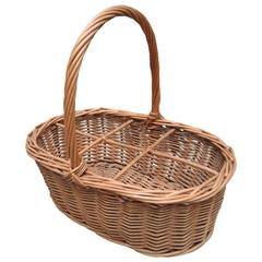 French Wicker Market Basket For Wine Bottles