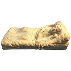 Rare Terracotta Sculpture of an Ancient Etruscan Reclining Figure