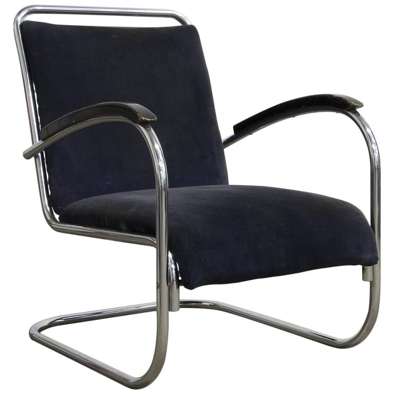 1930s, Paul Schuitema Easy Chair, Fabric with Black Lacquered Wooden Armrests