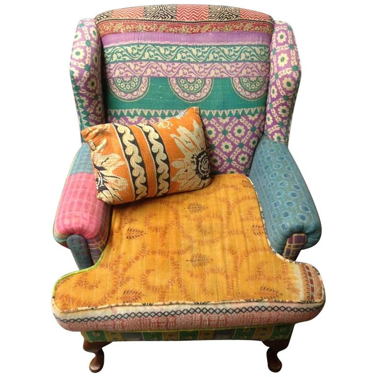 Superieur Sofa/Wingback Chair Of Many Fabrics Uphostered In The Bohemian Style For  Sale