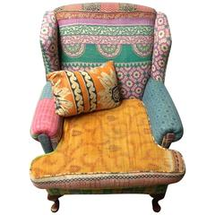 Sofa/Wingback Chair of Many Fabrics Uphostered in the Bohemian Style