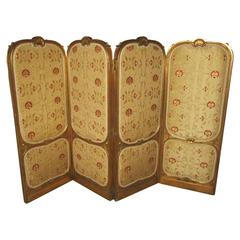 19th Century French Giltwood and Embroidered Silk Rococo Dressing Screen
