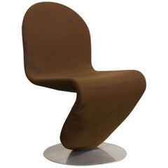 1973 Verner Panton, 1-2-3 Series Dining Chair in Brown Fabric