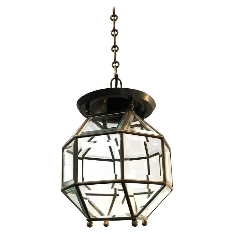 Early 1900s Bevelled Glass Pendant Cubic Ceiling Light in Adolf Loos Style For Sale