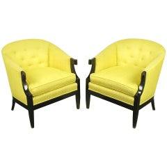 Pair of Baker Club Chairs in Embroidered Saffron Silk