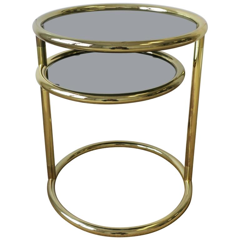 Modern Swivel Brass and Glass Side Table After Milo Baughman, ca. 1970s