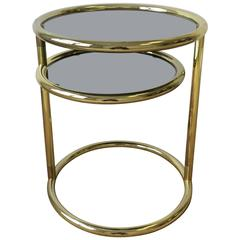Modern Swivel Round Brass and Glass Side Table After Milo Baughman, ca. 1970s