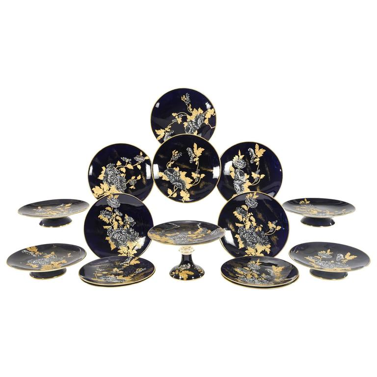Davenport Aesthetic Movement Cobalt Blue Hand-Painted Chrysanthemum Dessert Set  For Sale