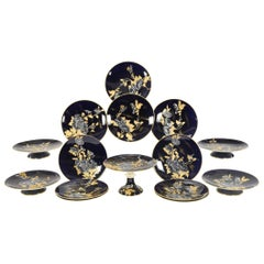 Davenport Aesthetic Movement Cobalt Blue Hand-Painted Chrysanthemum Dessert Set
