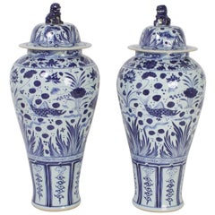 Large Pair of Blue and White Chinese Export Style Porcelain Lidded Jars