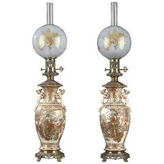 Pair of Satsuma Kerosene Lamps, Meiji Period, '1868-1912'