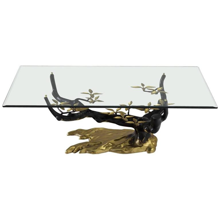 Coffee Table in Bronze, Brass and Glass