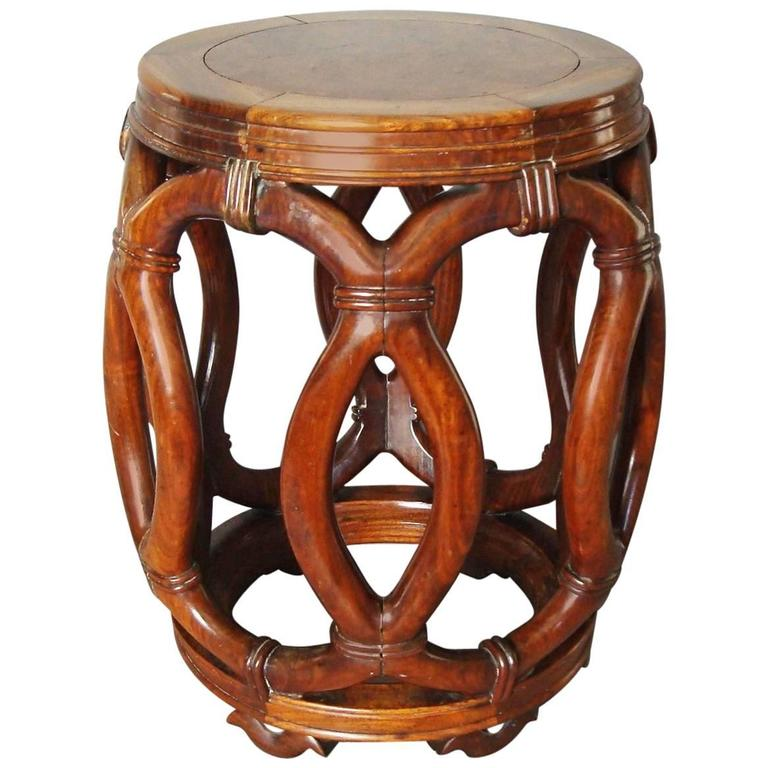 19th Century Chinese Hardwood Stool or End Table For Sale