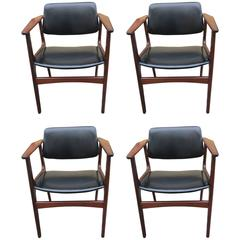 Set of Four Danish Armchairs with Black Imitation Leather