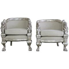 Pair of Carved Lion Silvered Armchairs