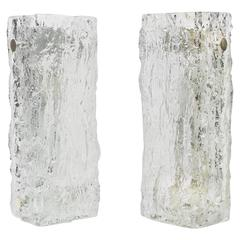 Pair of Murano Ice Glass Vanity Sconces by Kaiser, Germany, 1970s