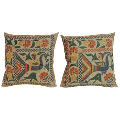 Pair of 19th Century Indian Hand Embroidery Decorative Pillows