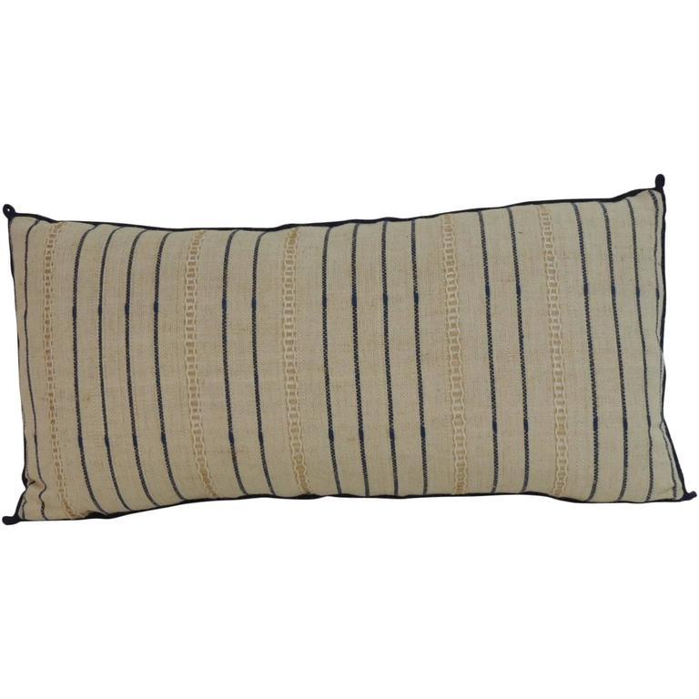 Decorative Bolster Pillow Black : Vintage Blue and Natural Stripe Long Bolster Decorative Pillow with Eyelet Design at 1stdibs