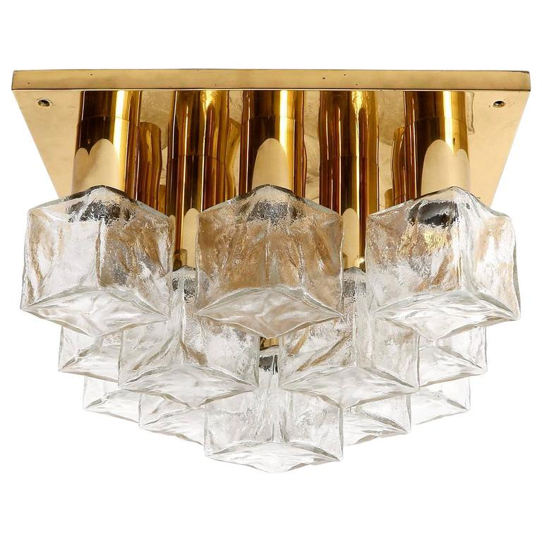 Square Kalmar Flush Mount Light or Sconce, Brass Cast Ice Glass, 1970, 1 of 5 For Sale