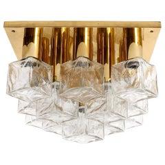 Square Kalmar Flush Mount Light or Sconce, Brass Cast Ice Glass, 1970, 1 of 5