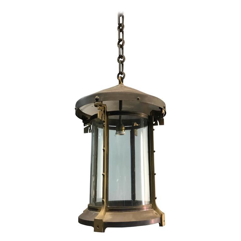 Large Arts and Crafts or Jugendstil Brass and Copper Pendant Light, Lantern