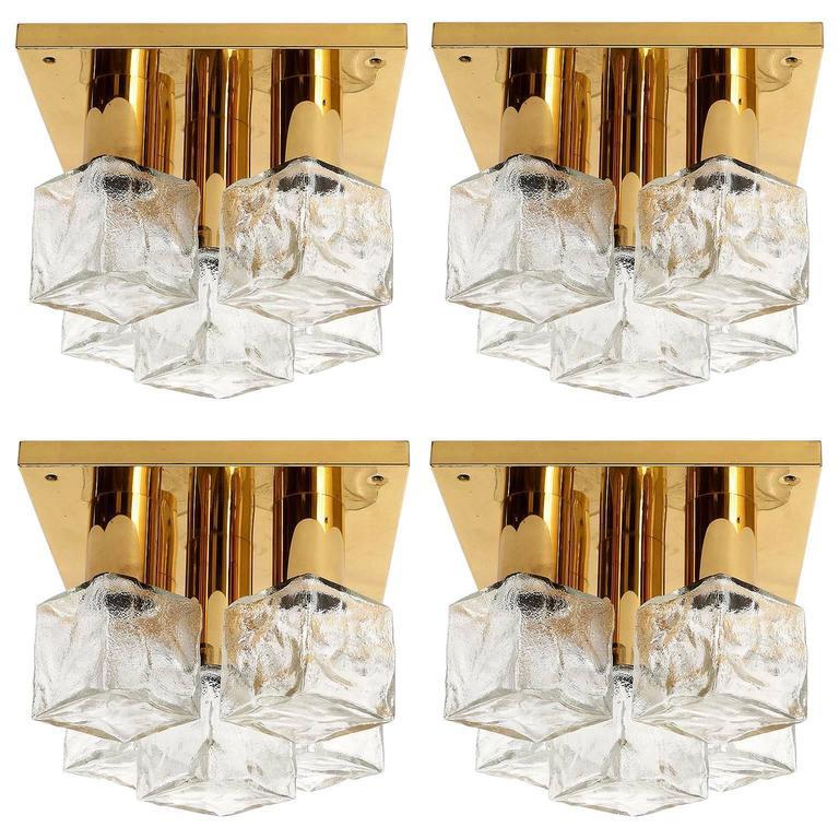 Four Modulare Kalmar Flush Mount Lights or Sconces, Brass Cast Glass, 1970
