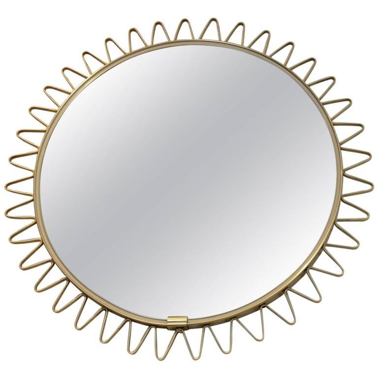 Elegant Mid-Century Brass Framed Sunburst Mirror, France For Sale