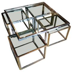 Mid-Century Coffee Table by Maison Charles with Four Tables Nested Underneath