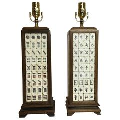 Pair of Vintage Mahjong Table Lamps