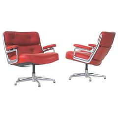 Charles Eames Time Life Leather Lounge Chairs