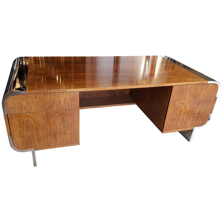 Rare 20th Century Leon Rosen for Pace Collection Walnut Executive Desk