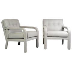 Pair of Milo Baughman Fully Upholstered Armchairs