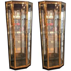 Pair of Mid-Century Brass and Lacquer Display Cabinets by Henredon