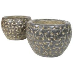 Pair of Deco Style Celtic Decorated Carved Stone Planters