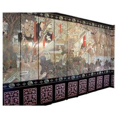 Huge Vintage Large Chinese Coromandel 12-Panel Carved Lacquer Screen